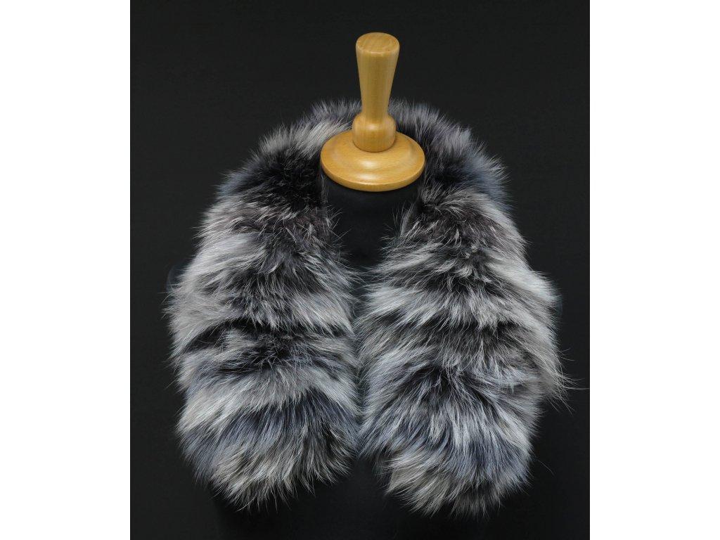 Krátká kožešina na kapuci z finského mývalovce 6043 Black & White 60 cm
