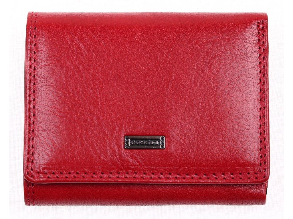 Menší dámská kožená peněženka Cosset 4508 Red Flamengo červená s vnější kapsou na mince