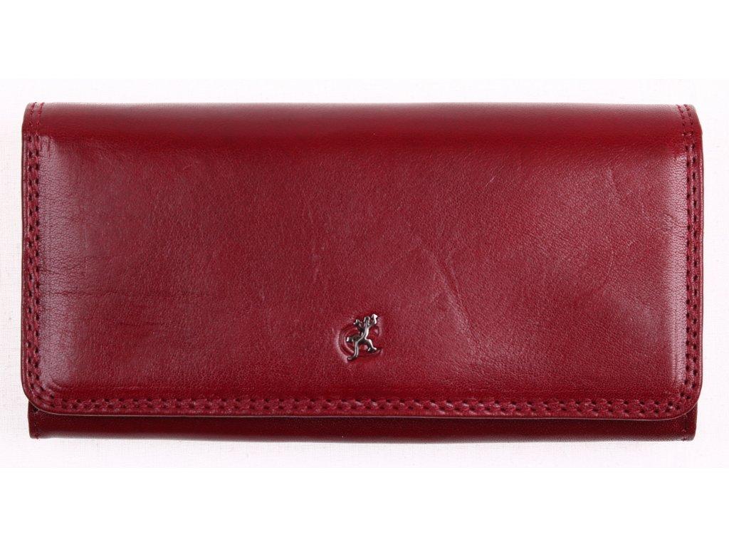 Tmavě červená dámská dlouhá kožená peněženka Cosset 4467 Komodo