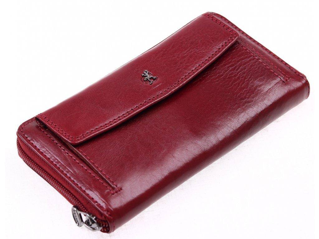 ... Velká dámská kožená peněženka Cosset 4491 Komodo vínová - penál na zip  ... 9d478b043c