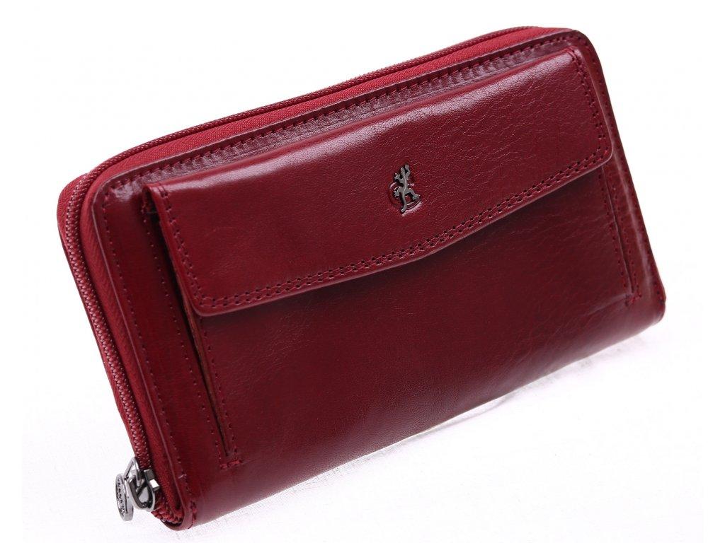 ... Velká dámská kožená peněženka na zip Cosset 4491 Komodo tmavě červená    vínová   bordová ... f644c5c307