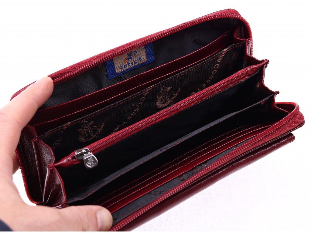 ... Velká dámská kožená peněženka na zip Cosset 4491 Komodo vínová ... 323f2b6abd