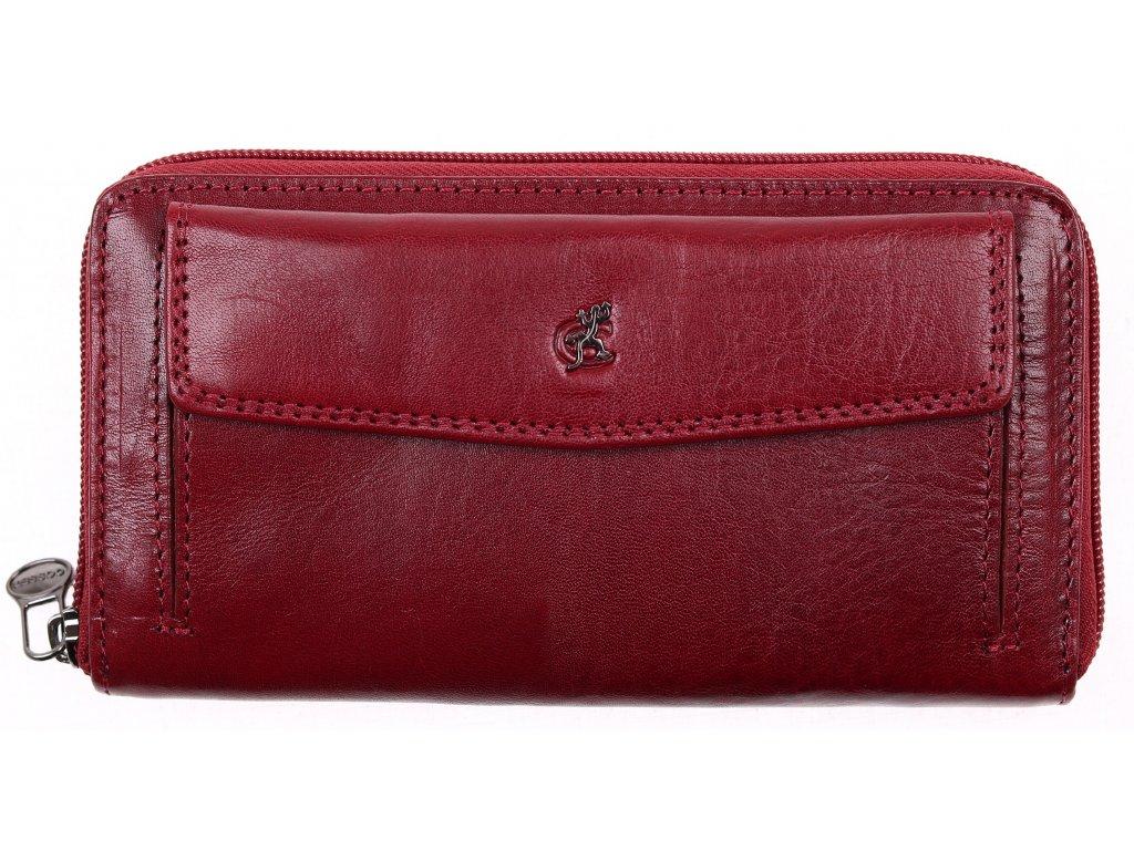 Velká dámská kožená peněženka na zip Cosset 4491 Komodo vínová