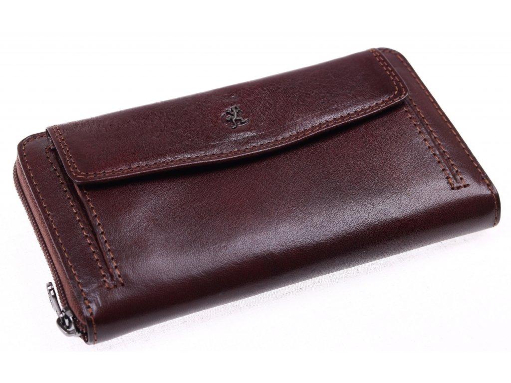 Velká dámská kožená peněženka penál Cosset 4491 Komodo hnědá - Špongr.cz b3db1364a4