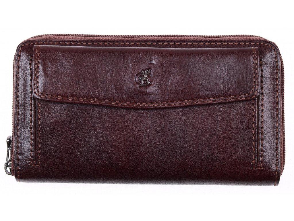 Velká dámská kožená peněženka penál Cosset 4491 Komodo hnědá