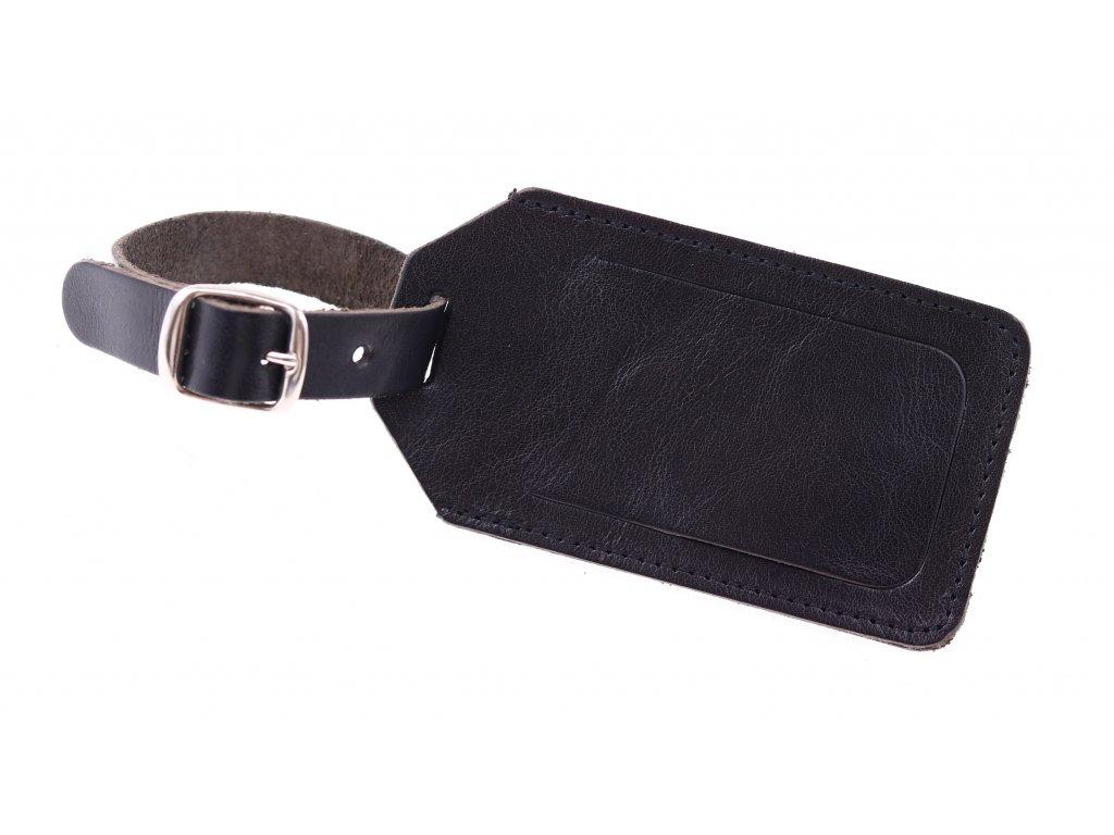 Kožená jmenovka na zavazadlo velká z černé hovězí kůže