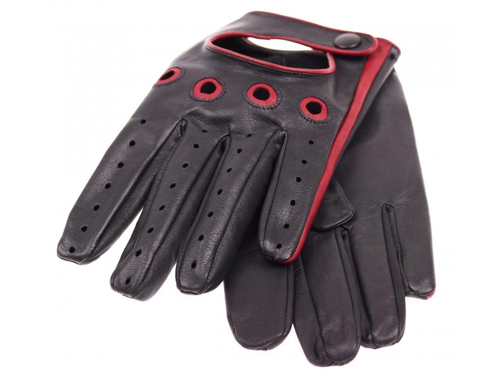 Pánské kožené řidičské rukavice 1448P černé s tmavě červenými ... 223543abd0