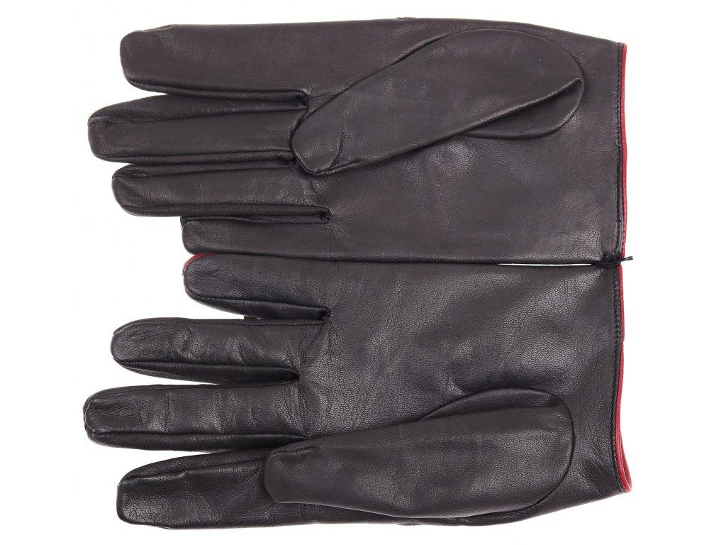 ... kůže · Pánské kožené řidičské rukavice 1448P černé s tmavě červenými  detaily 00a53a1c9f