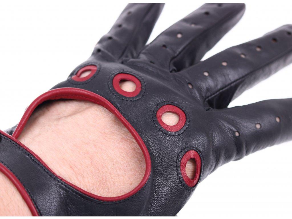 ... Pánské kožené řidičské rukavice 1448P černé s tmavě červenými detaily  ... ac2c40c8c4