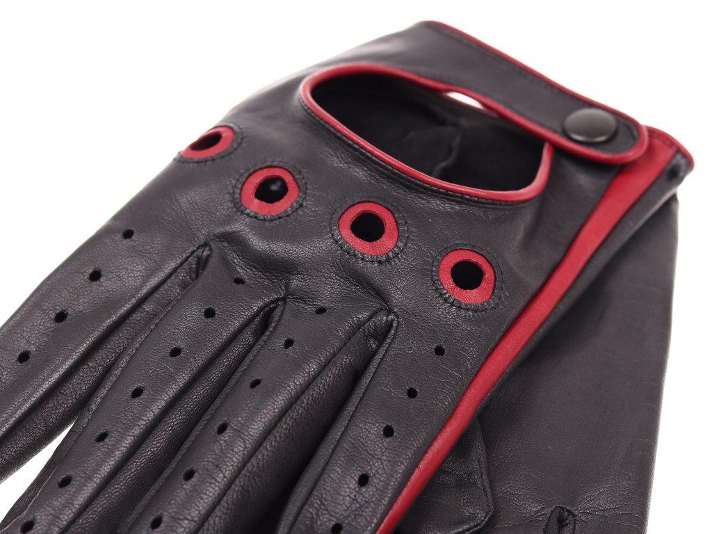 f510d0410cd ... Pánské kožené řidičské rukavice 1448P černé s tmavě červenými detaily -  pravá kůže ...