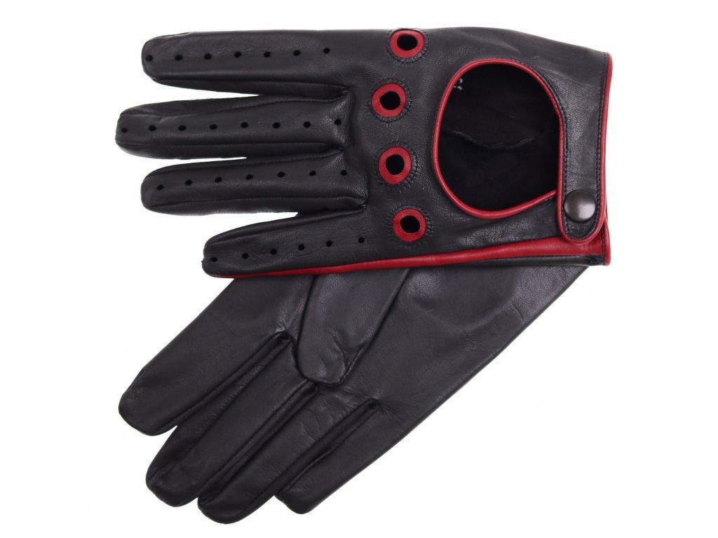 Pánské kožené řidičské rukavice 1448P černé s tmavě červenými detaily -  česká výroba 158c1c43bf