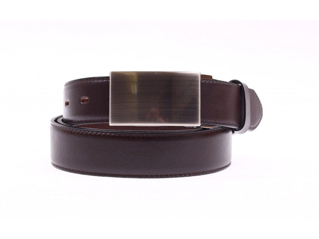 Pánský společenský kožený opasek Penny Belts 3542 tmavě hnědý