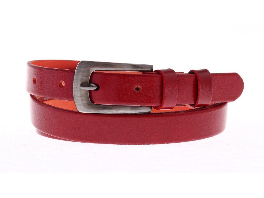 Dámský úzký kožený opasek Penny Belts 20-181-93 červený