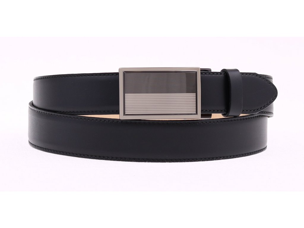 Pánský kožený opasek Penny Belts 3505 s plnou sponou AUTOMAT černý