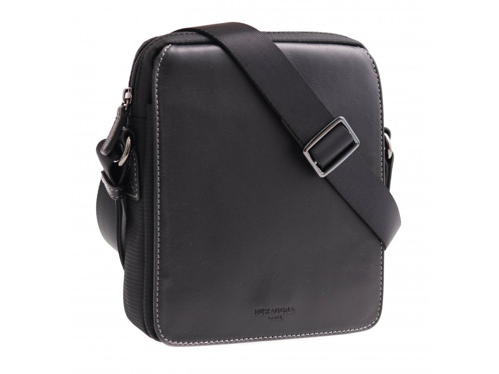 Pánská textilní crossbody taška Hexagona 299162 černá s koženou klopnou
