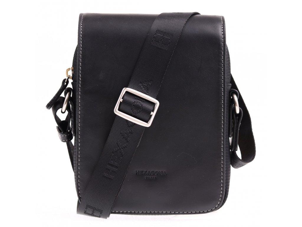Pánská textilní crossbody taška Hexagona 299164 černá s koženou klopnou