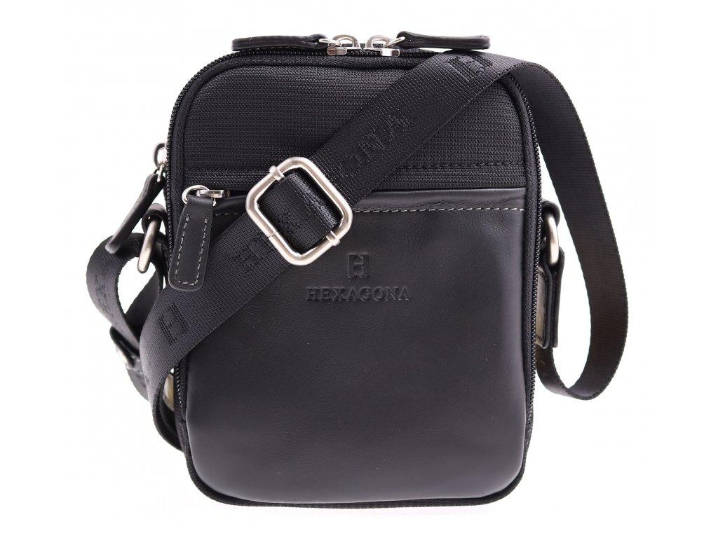 Malá pánská taštička přes rameno Hexagona 291329 černá nylonová s koženými doplňky