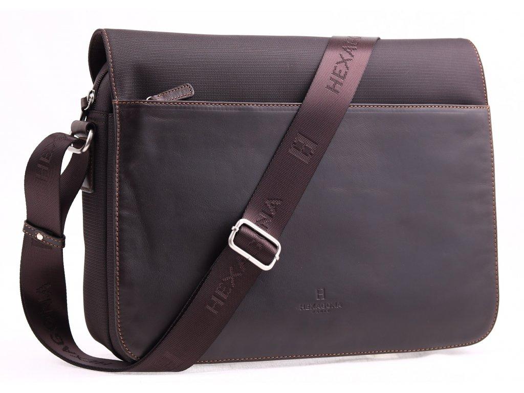 Pánská messenger taška přes rameno Hexagona 292682 hnědá kůže a nylon