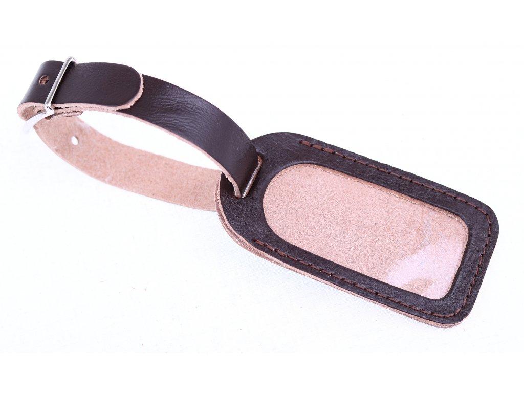 Kožená jmenovka na kufr malá - tmavě hnědá hovězina