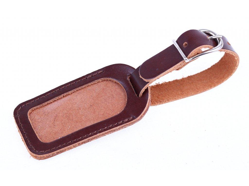 Kožená visačka na zavazadlo malá - kaštanově hnědá