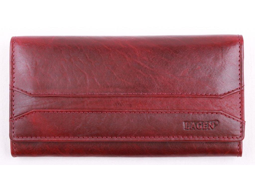 Červená kožená peněženka Lagen W 2025 T Red