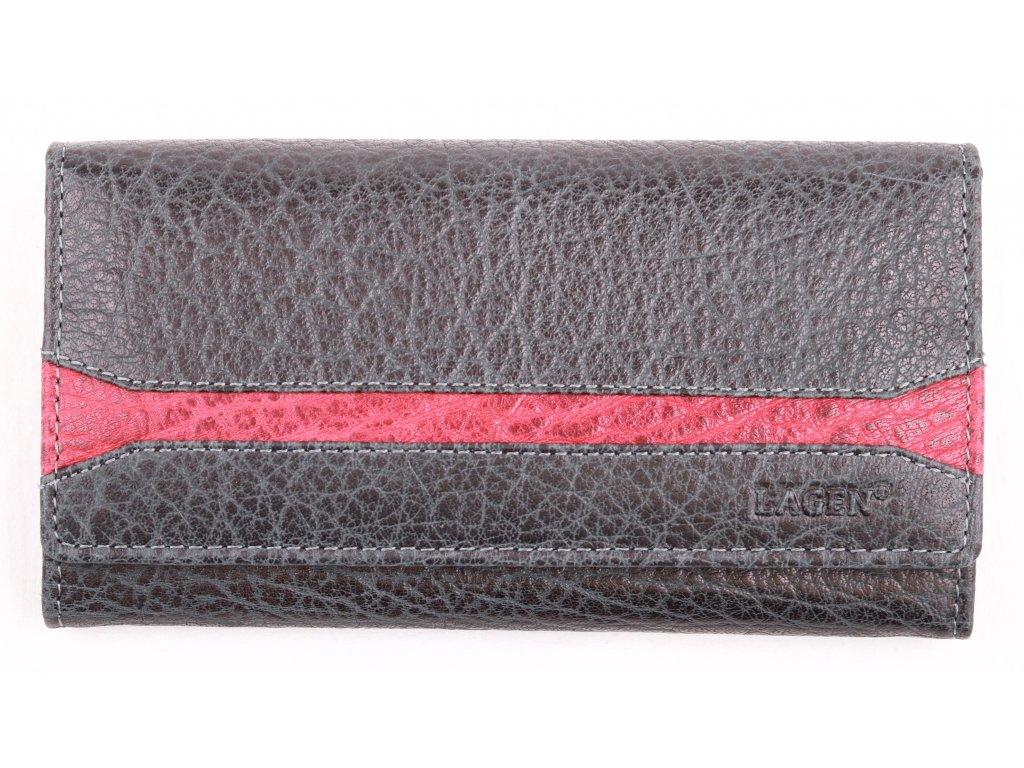 Dámská kožená peněženka Lagen 2025 IT Black Red