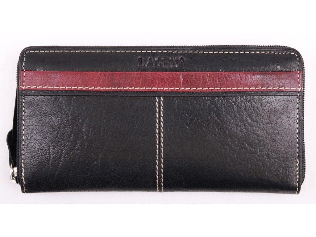 Dámská kožená peněženka Lagen 26512 Black Red