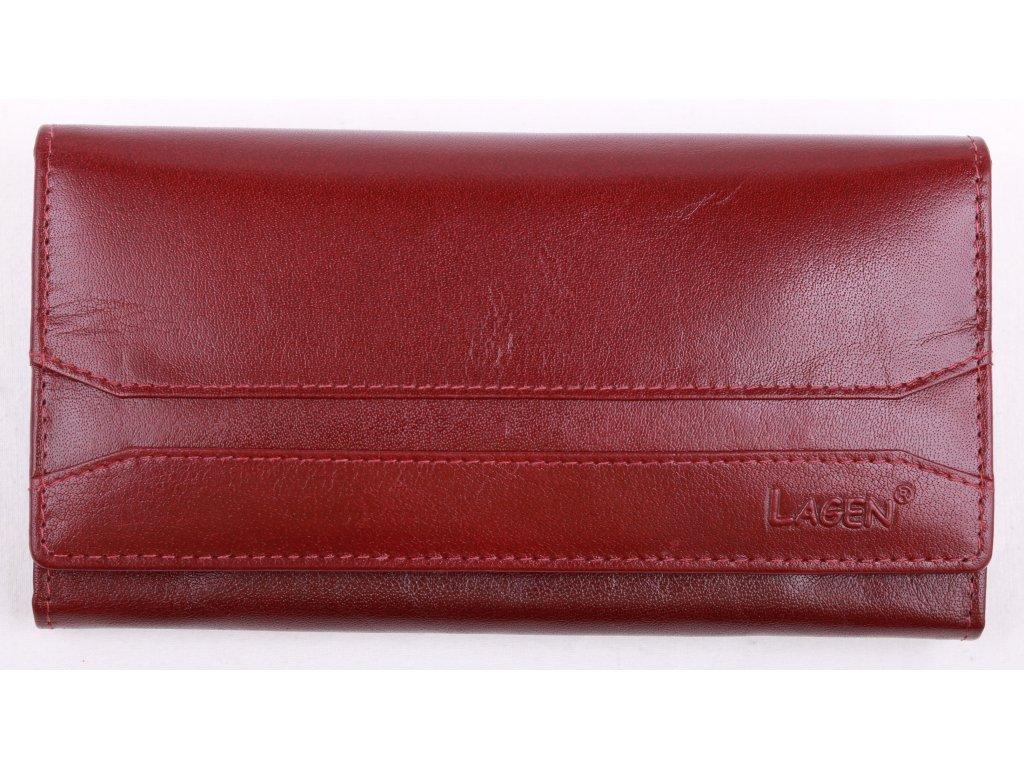 Červená kožená peněženka Lagen W 2025 B Red