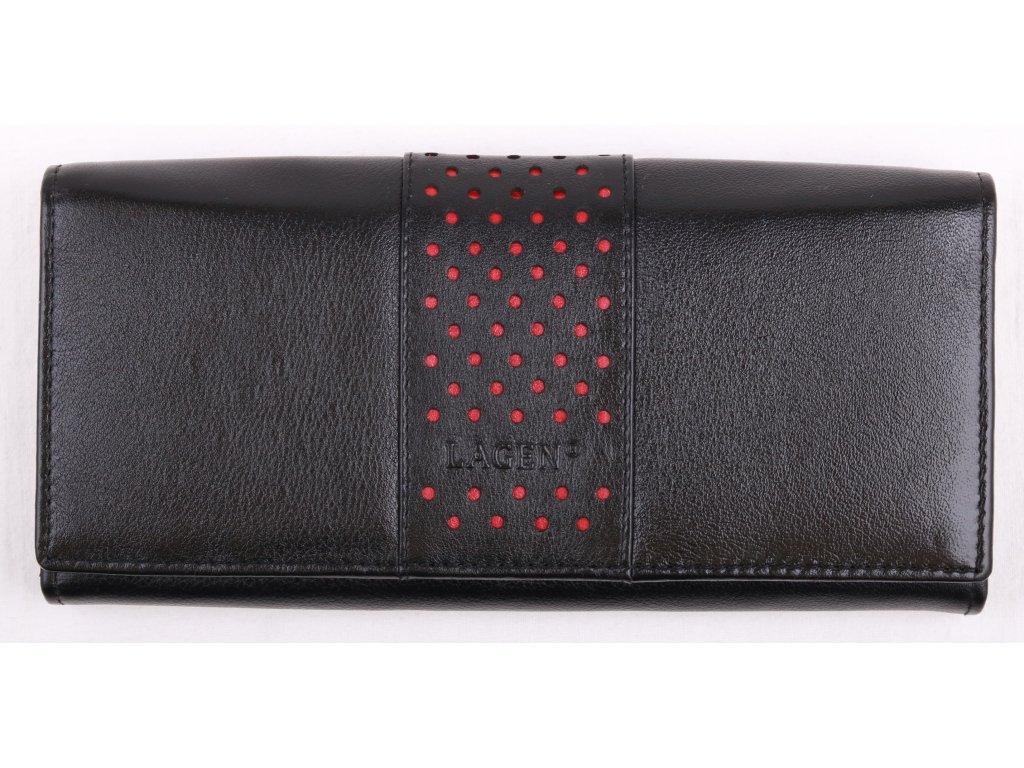 Dámská  kožená peněženka Lagen V - 15 Black Red