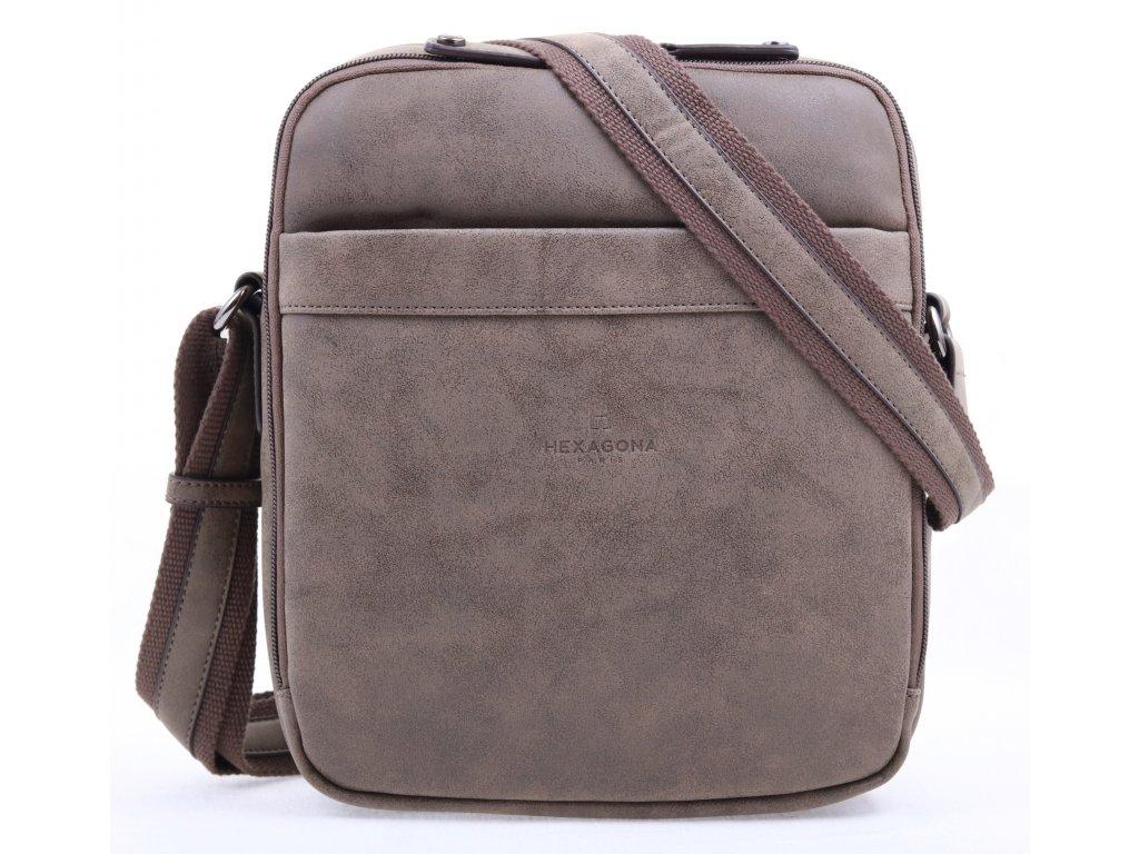 Pánská koženková taška přes rameno 784629 taupe světle šedozelená