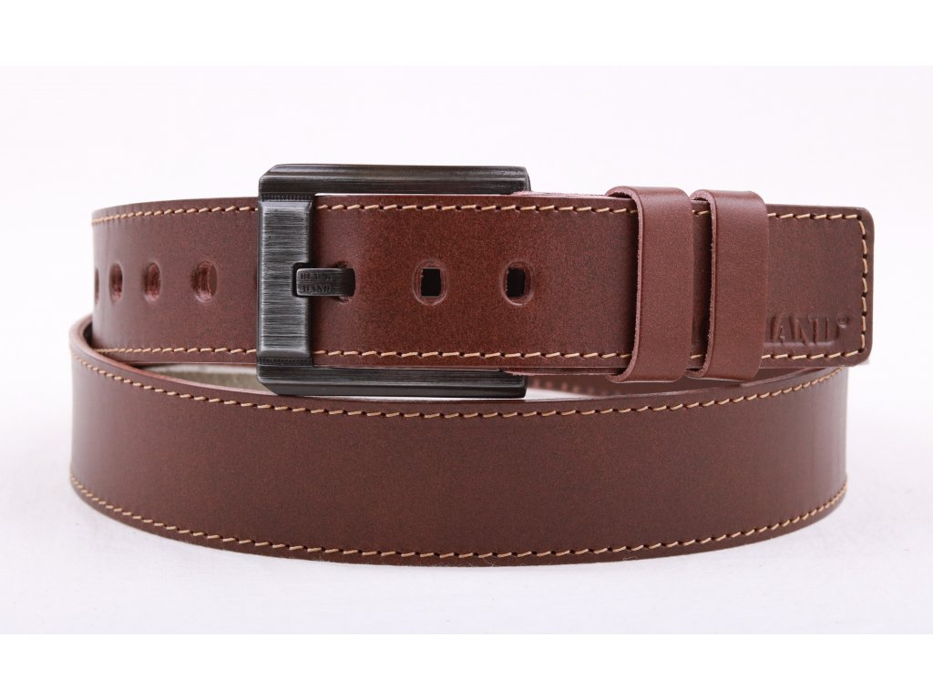 Pánský kožený opasek Black Hand 120-75 středně hnědý s kontrastním štepováním