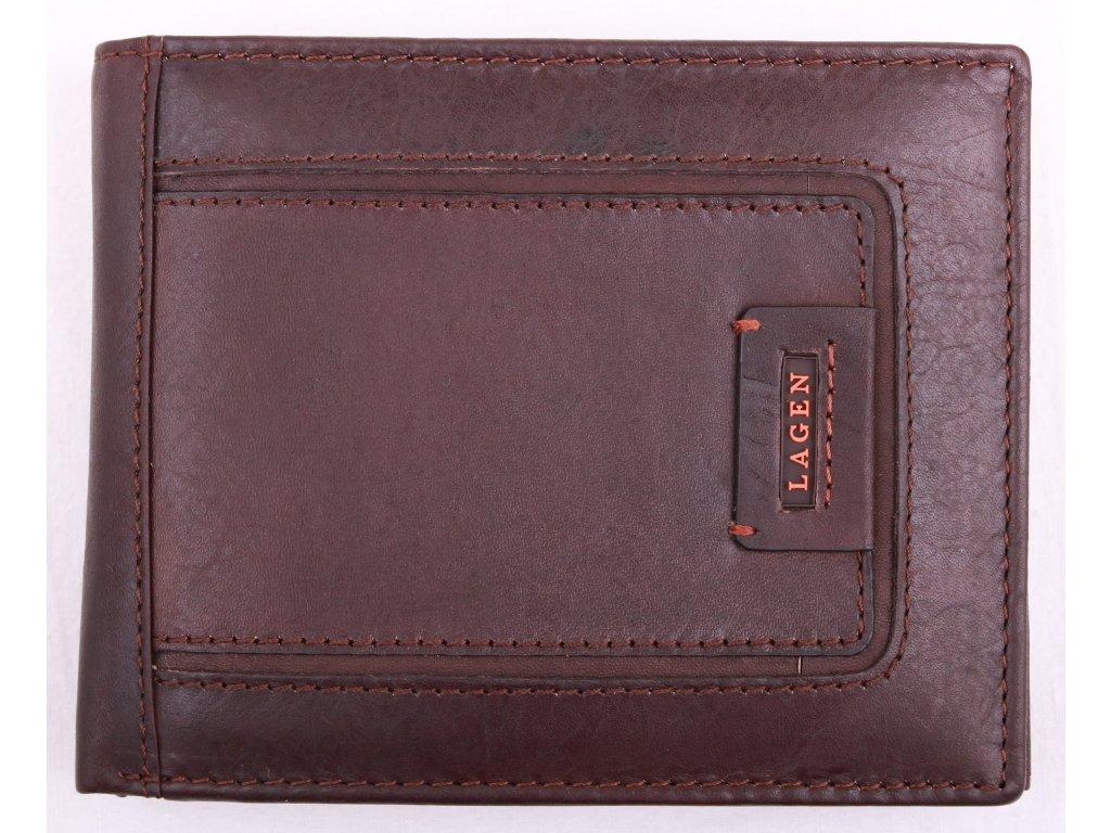 Pánská kožená peněženka Lagen LG1131 tmavě hnědá