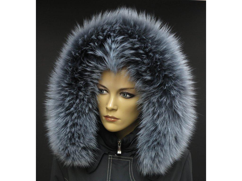 Kožešina na kapuci z finského mývalovce - 9002 šedá melír