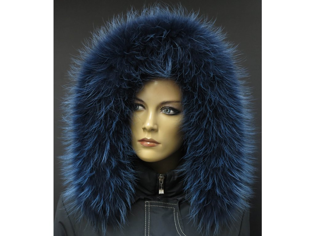 Kožešinový lem na kapuci z finského mývalovce - 9039 modrá melír