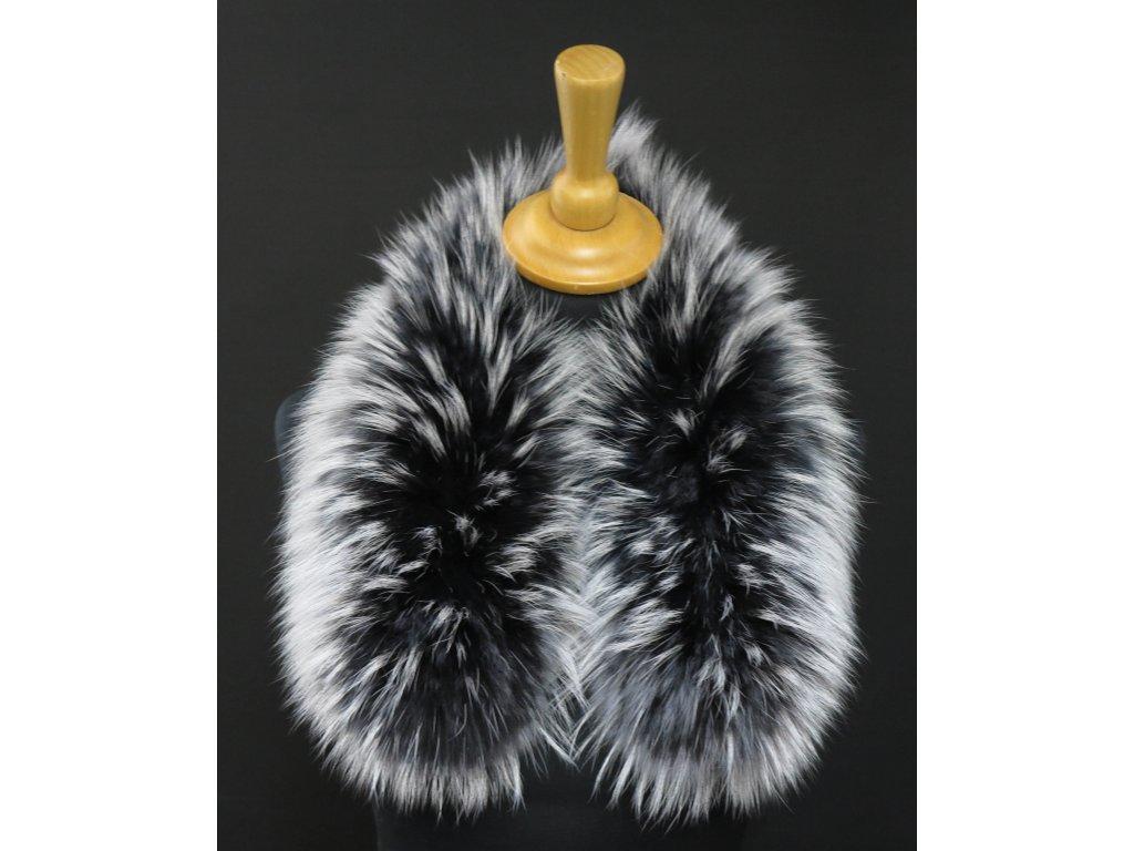 Krátká kožešina na kapuci z finského mývalovce 6050 Black & White 60 cm
