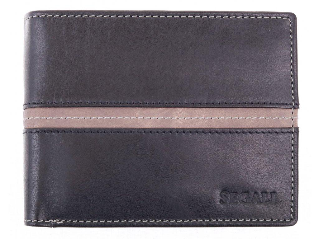 Pánská kožená peněženka Segali 7201372007 černá + šedá