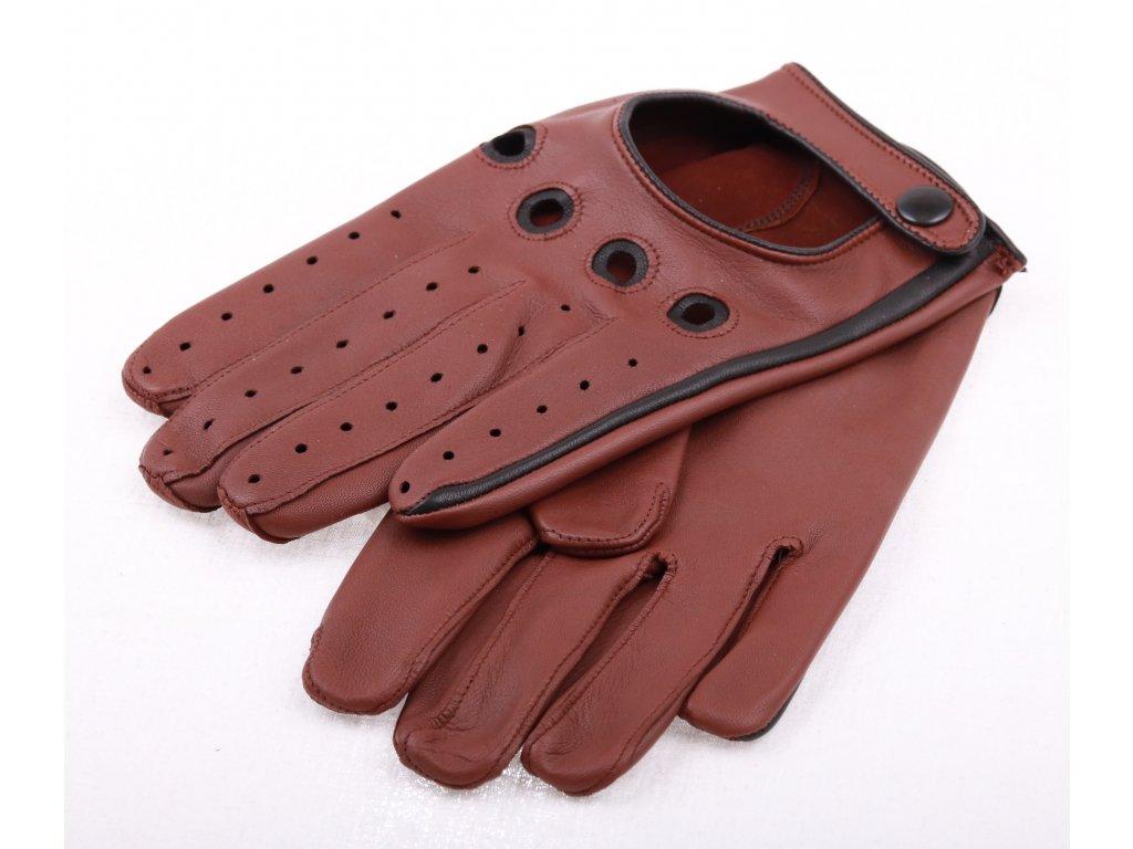 Pánské kožené řidičské rukavice 1448P tmavě koňakově hnědé s černými ... 68cfd889a2
