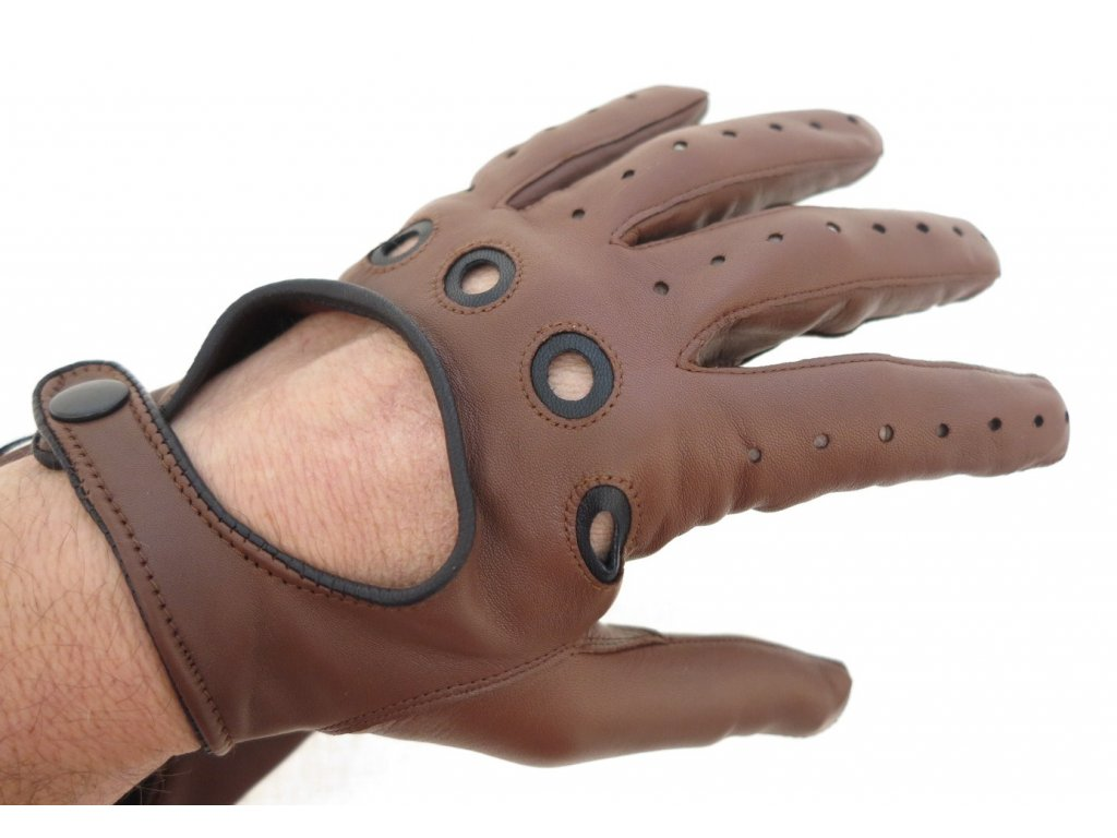 ... Pánské kožené řidičské rukavice 1448P tmavě koňakově hnědé s černými  detaily ... 989aafc79a