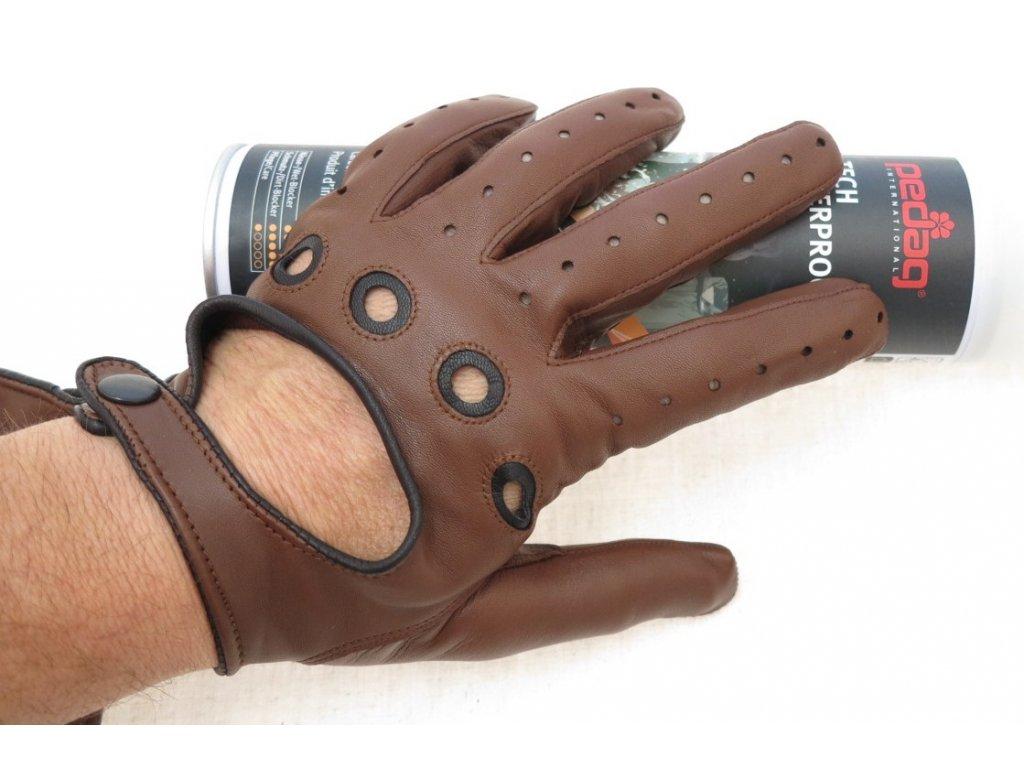 ... Pánské kožené řidičské rukavice 1448P tmavě koňakově hnědé s černými  detaily 1058dfb595