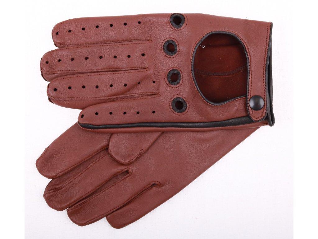 řidičské rukavice 1448P tmavě koňakově hnědé s černými detaily