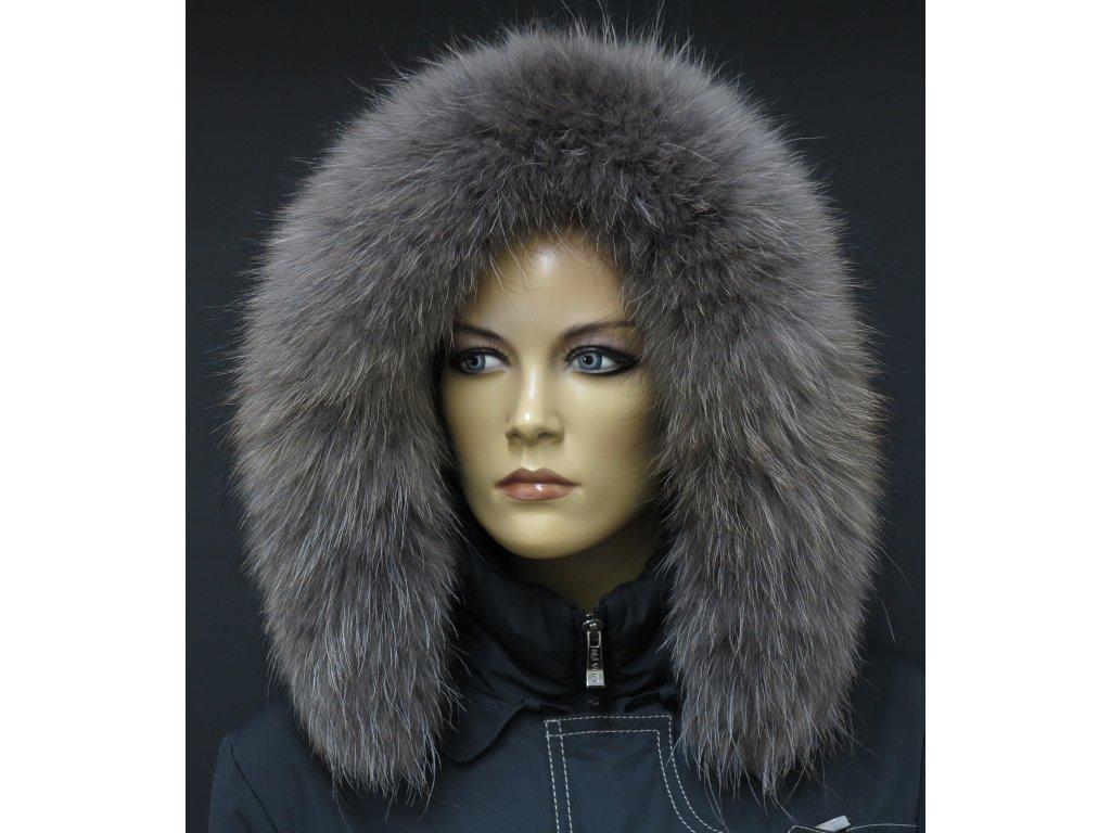 Kožešina na kapuci z finského mývalovce - 4029  SMOKE šedohnědý