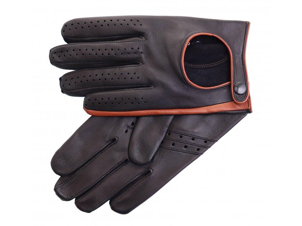 Pánské kožené řidičské rukavice 1456P černé s koňakovými detaily