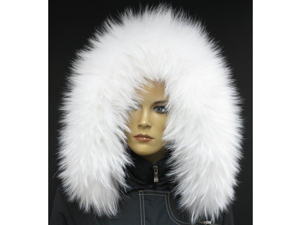 Kožešinový lem / límec na kapuci z finského mývalovce - 4001 White Excellence