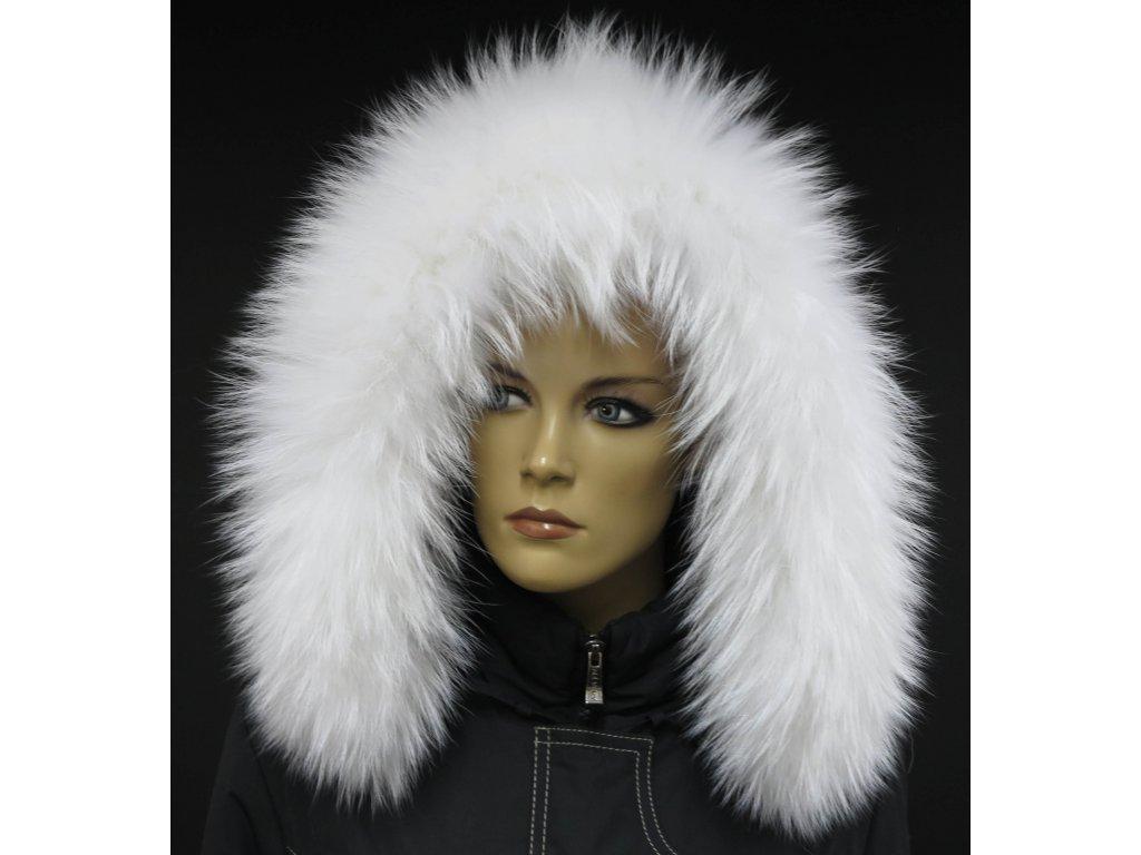 Kožešinový lem / límec na kapuci z finského mývalovce - 4002 White Excellence
