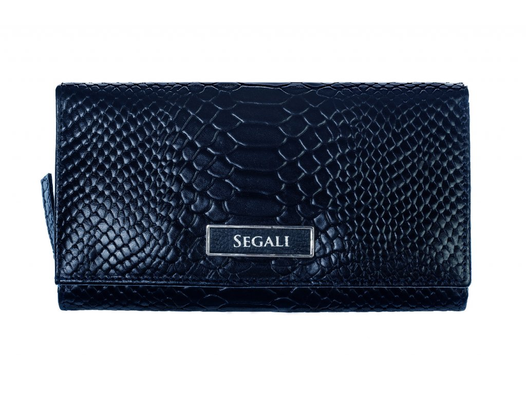Dámská kožená peněženka Segali 910199125 tmavě modrá hadí kůže