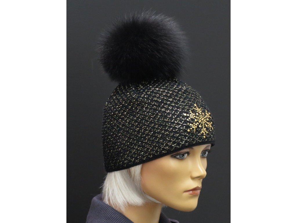 77b39aea031 Luxusní pletená čepice s pravou kožešinovou bambulí 604 černá zlatá ...