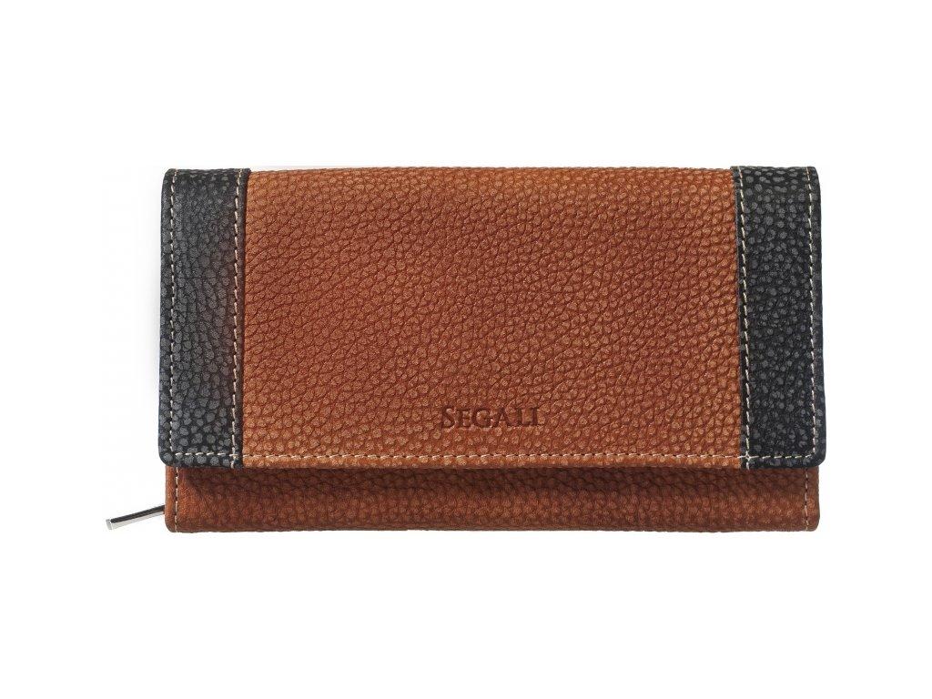 Dámská kožená peněženka Segali SG61288 WO oranžová / černá broušená kůže