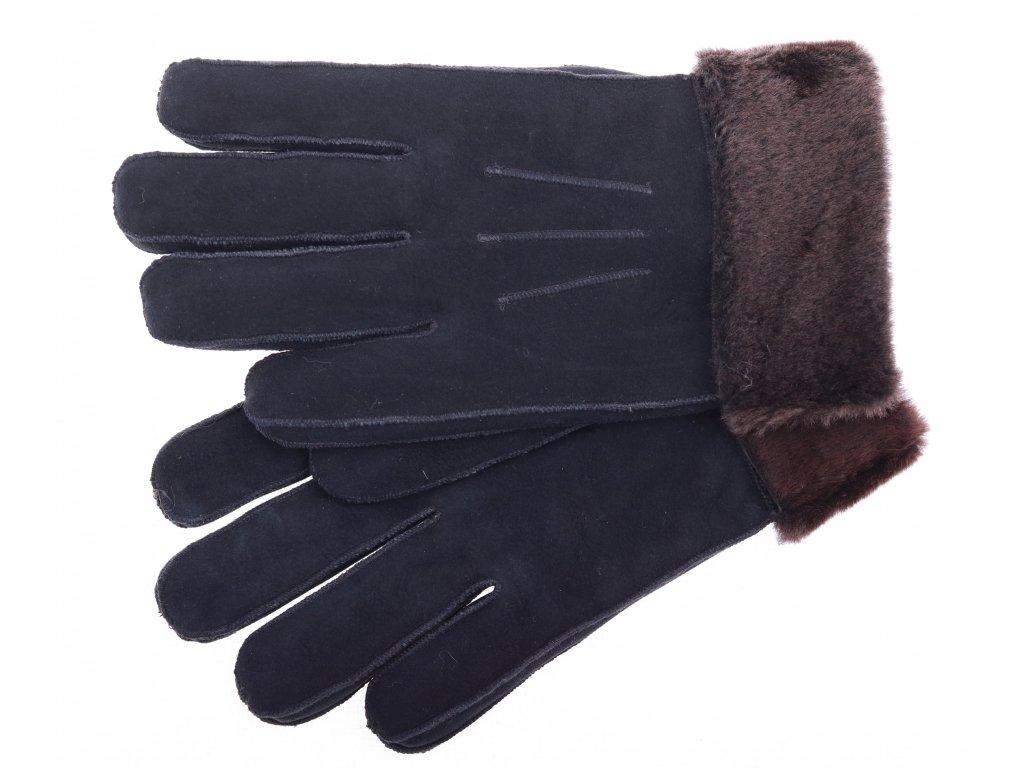 Kožešinové rukavice prstové PR61 černé velur s melírovaným vlasem ... 1ff9fe2334