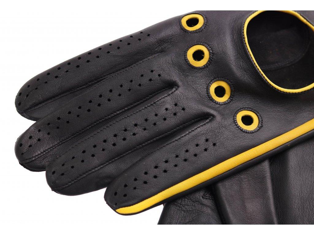 98ca0875d04 ... Pánské kožené řidičské rukavice 1448P černé s jasně červenými detaily  ...