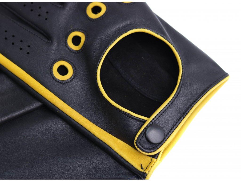 d427072cc07 ... Pánské kožené řidičské rukavice 1448P černé s jasně červenými detaily